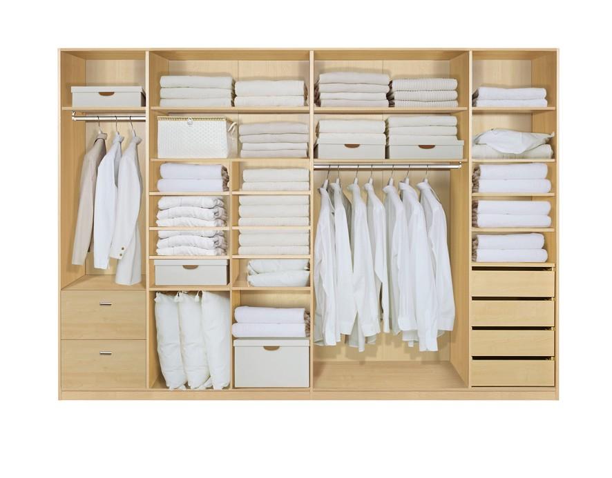 Komplett Set Innenschubkasten OPTION 12 für Kleiderschränke 302cm - Schrankteilbreiten 52 / 100 / 100 / 50cm
