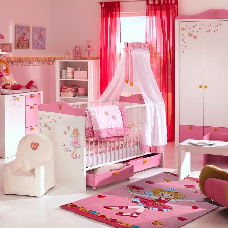 Sparset Prinzessin Lillifee(3-teilig) - Sprossenbett/Wickelkommode & Kleiderschrank rosa/weiß