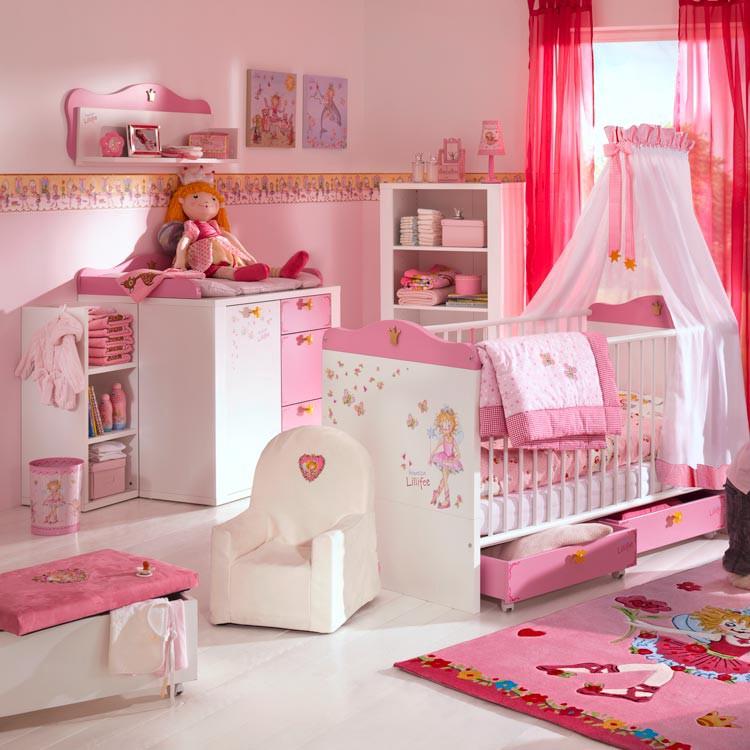 wickelkommode prinzessin lillifee wei rosa mit wickelaufsatz zwei anstellregale. Black Bedroom Furniture Sets. Home Design Ideas