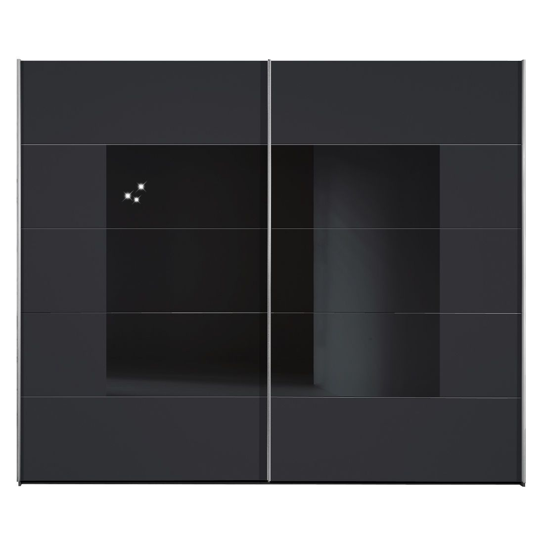 shuffle schrank schwarz mit schwarzem glas 252cm. Black Bedroom Furniture Sets. Home Design Ideas