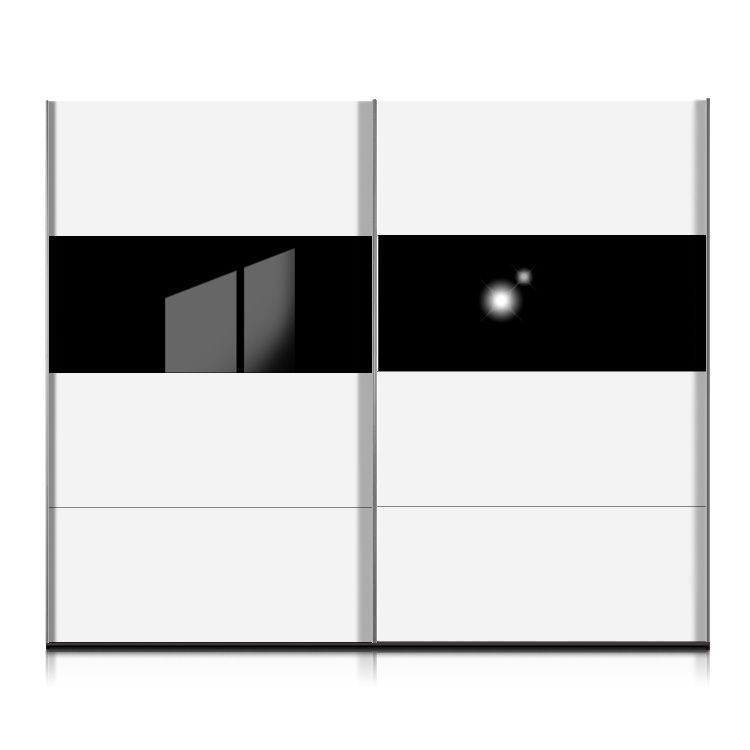Schwebetürenschrank Style - Weiß/Glas Schwarz ...