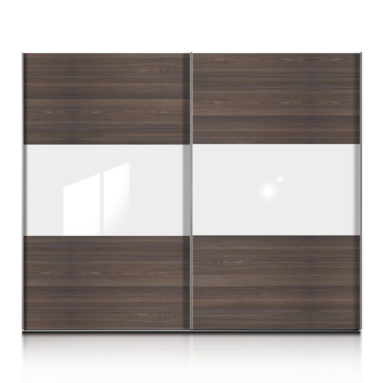 schwebet renschrank trio plus esche dunkel glas weiss breite 202 cm. Black Bedroom Furniture Sets. Home Design Ideas