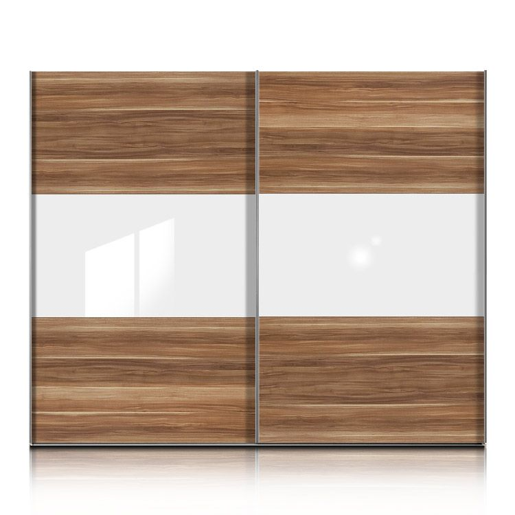 schwebet renschrank trio plus nussbaum glas weiss breite 202 cm. Black Bedroom Furniture Sets. Home Design Ideas