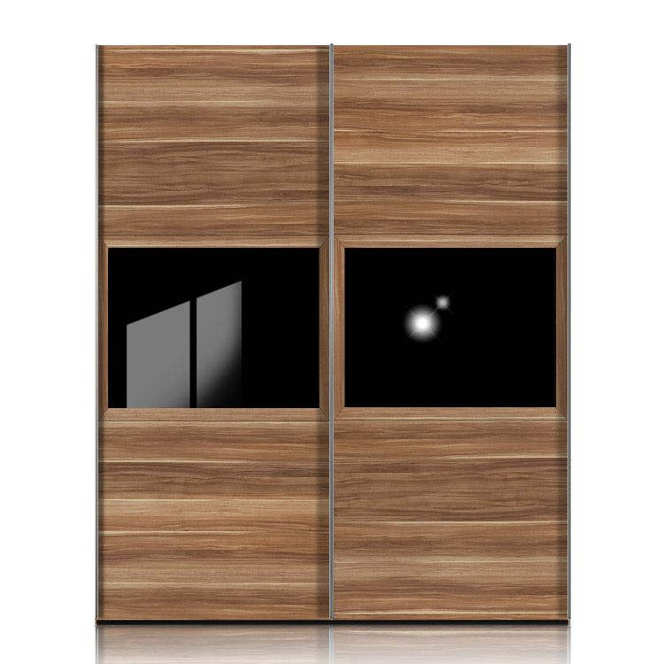 schwebet renschrank trio nussbaum dekor mit glas schwarz. Black Bedroom Furniture Sets. Home Design Ideas