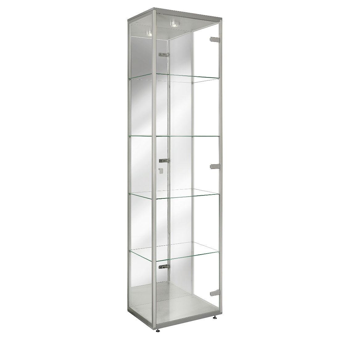 Klarglasvitrine Vision mit Halogen-Beleuchtung - klein - Spiegel Silber (KlarglasVitrine Vision/LED-Beleuchtung - klusive Spiegel Silber)