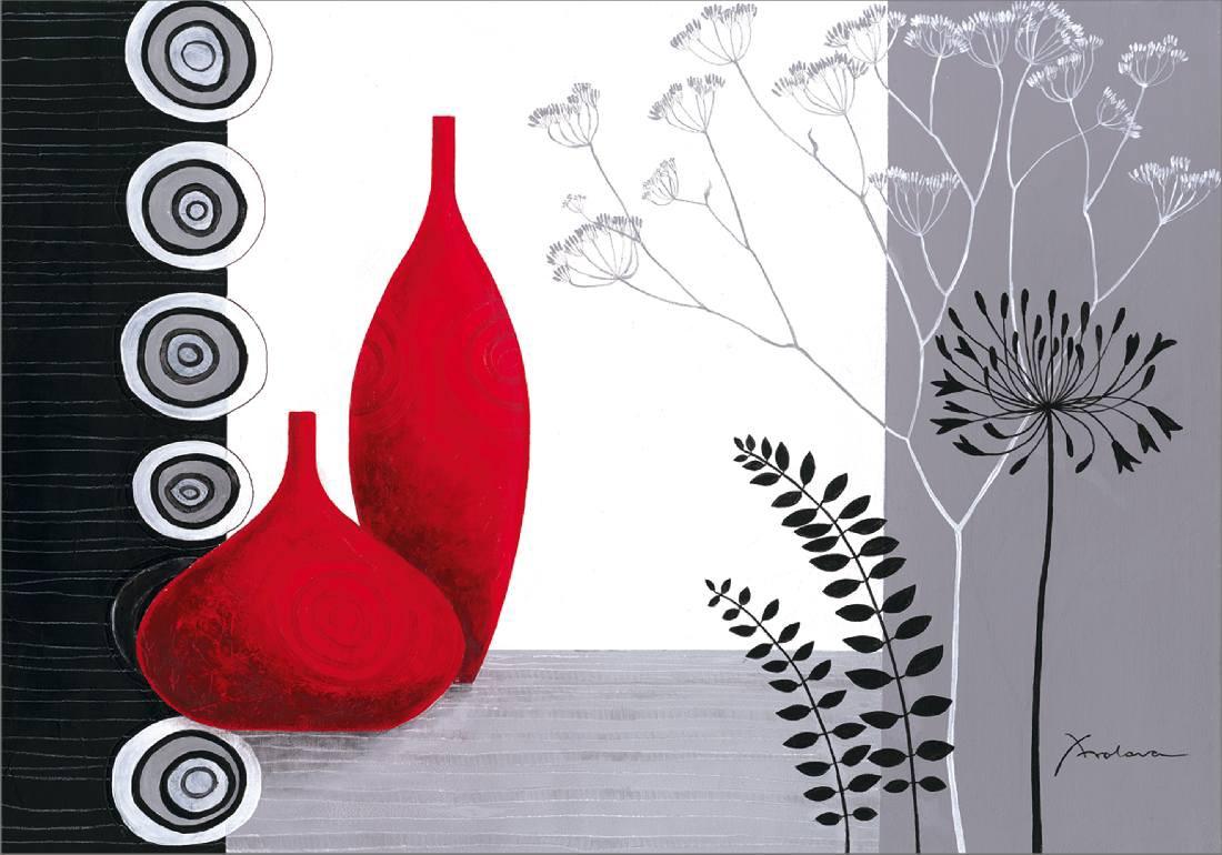 Bild Red vases on monochrome – Digital-Fine-Art-Druck auf Leinen – 70 x 100 cm, Artland bestellen