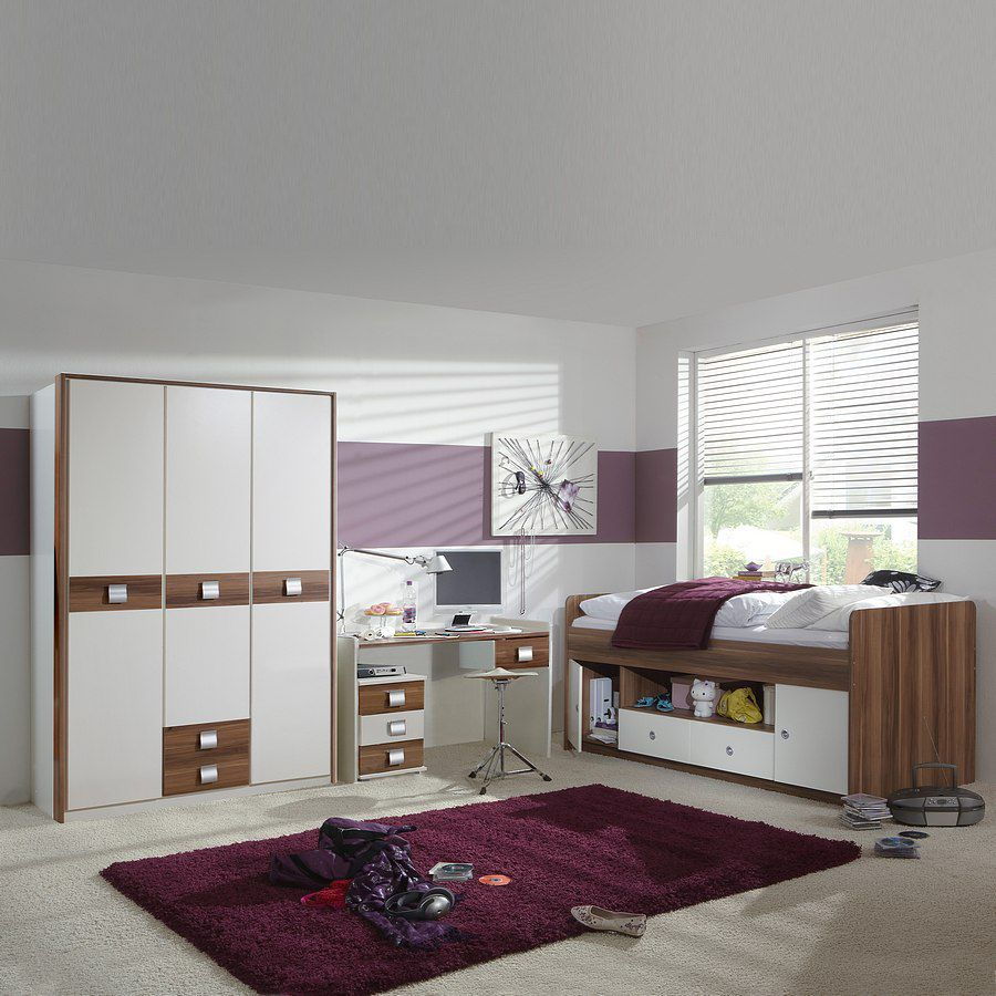 Komplettset 2 avallon bett for Bett schrank