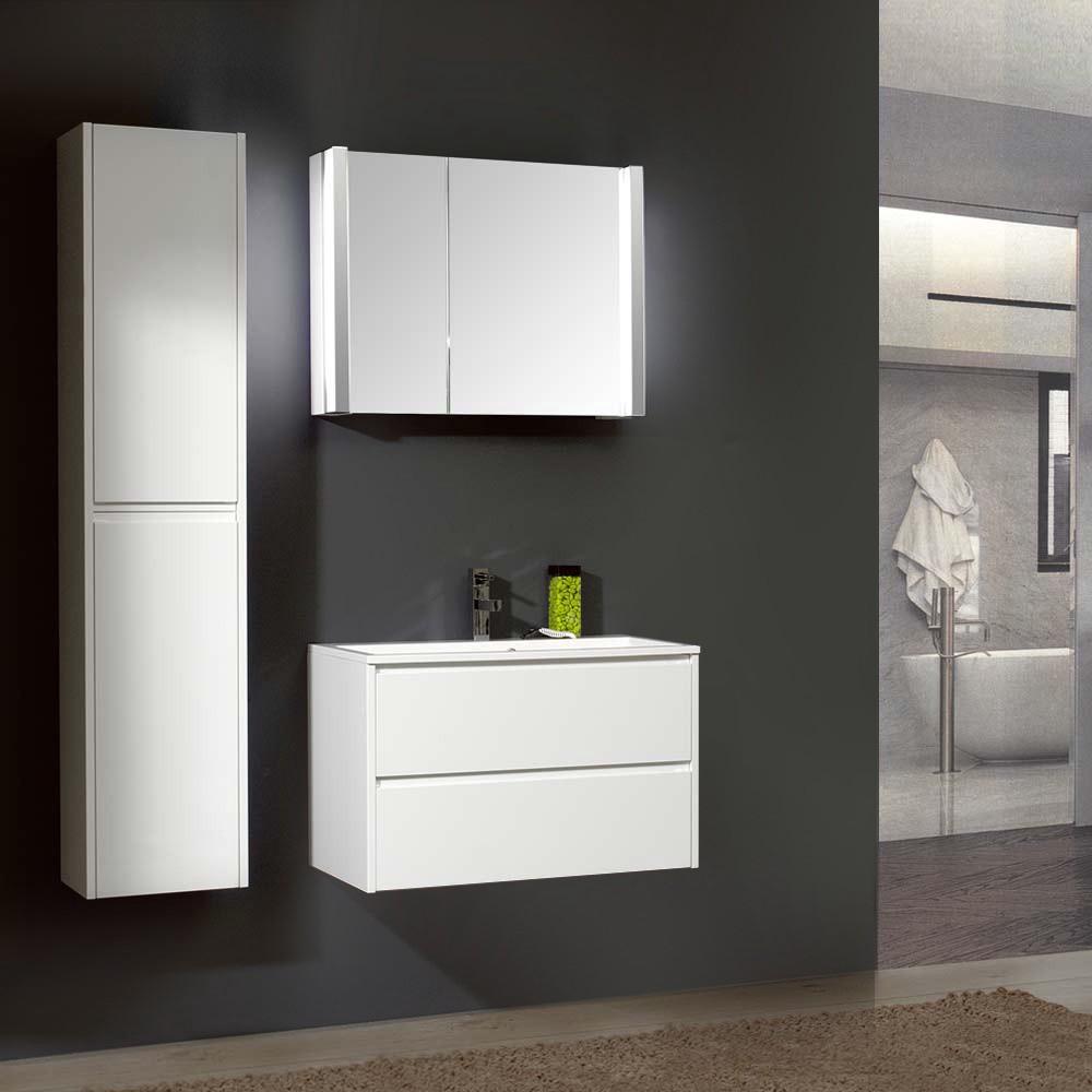 badezimmerset beat 80 ii 3 teilig wei hochglanz mit mineralmarmor waschtisch schrank. Black Bedroom Furniture Sets. Home Design Ideas