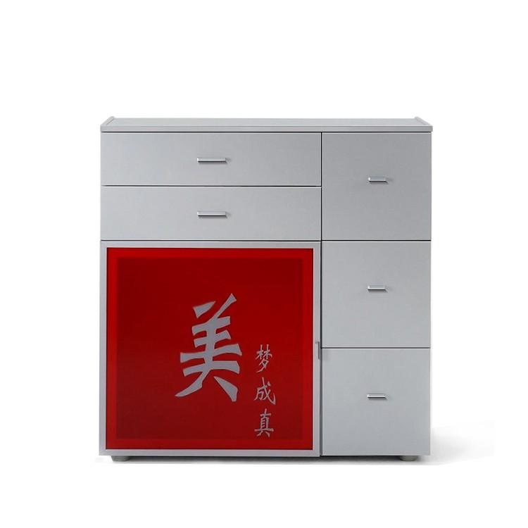 Kommode Akita - Silber/Türglas Rot
