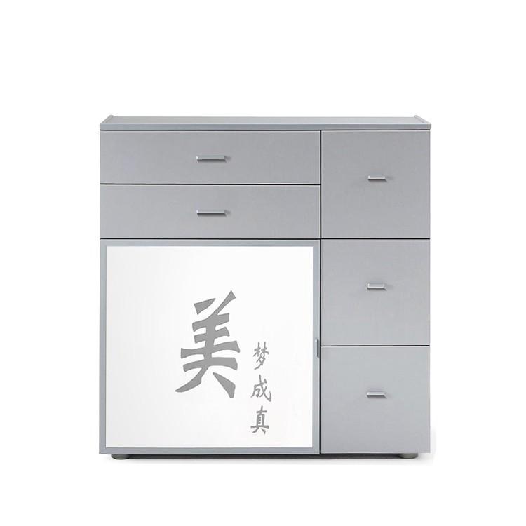 Kommode Akita - Silber/Türglas Weiß