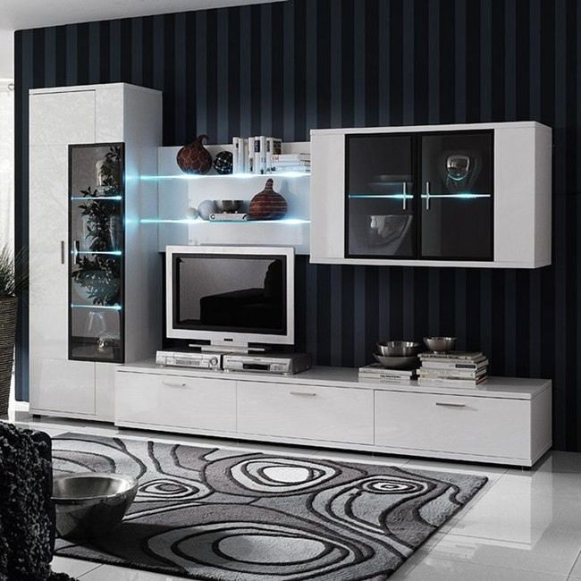 EEK A+, Wohnwand Corana I (4-teilig) - Hochglanz Weiß - Mit Beleuchtung, loftscape