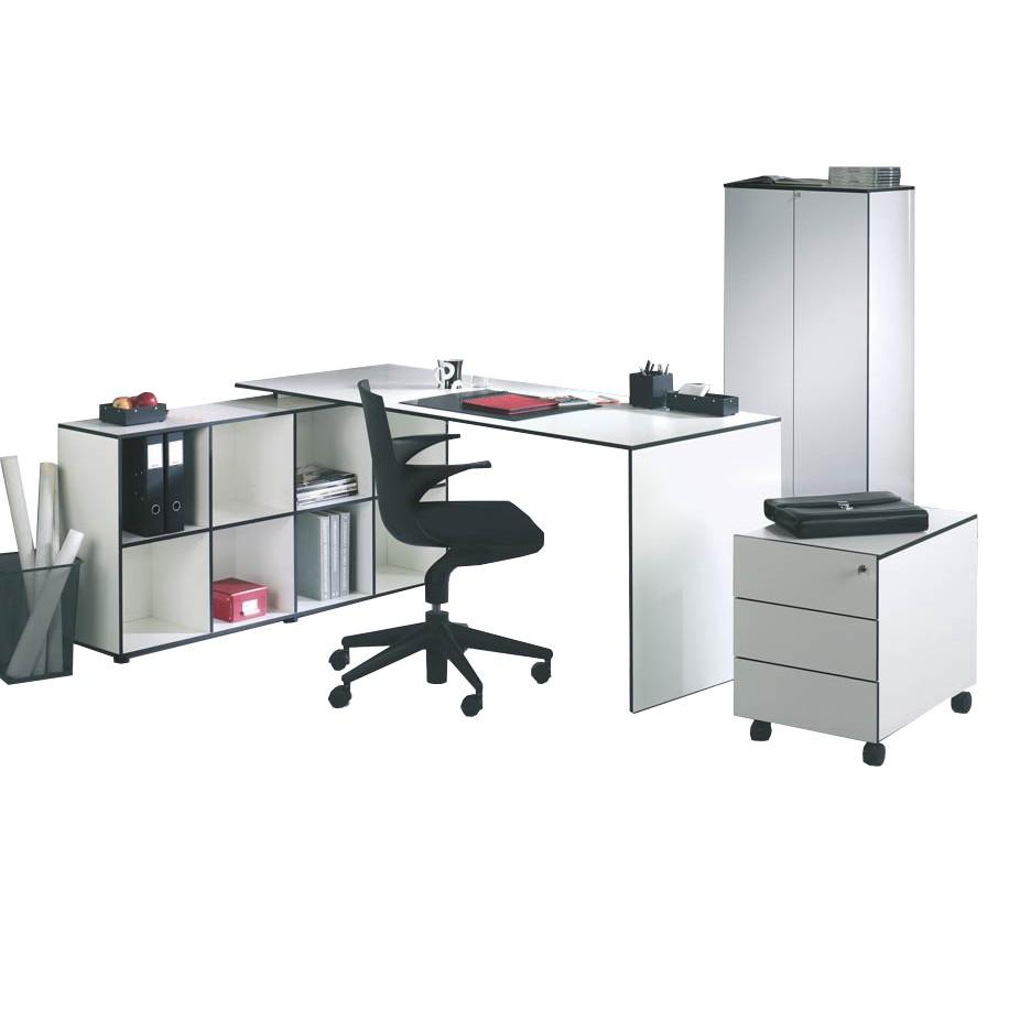Büro-Set Bianconero (4-teilig) - Weiß mit Schwarzen Kanten - mit Tisch 180x70 cm, Reinhard