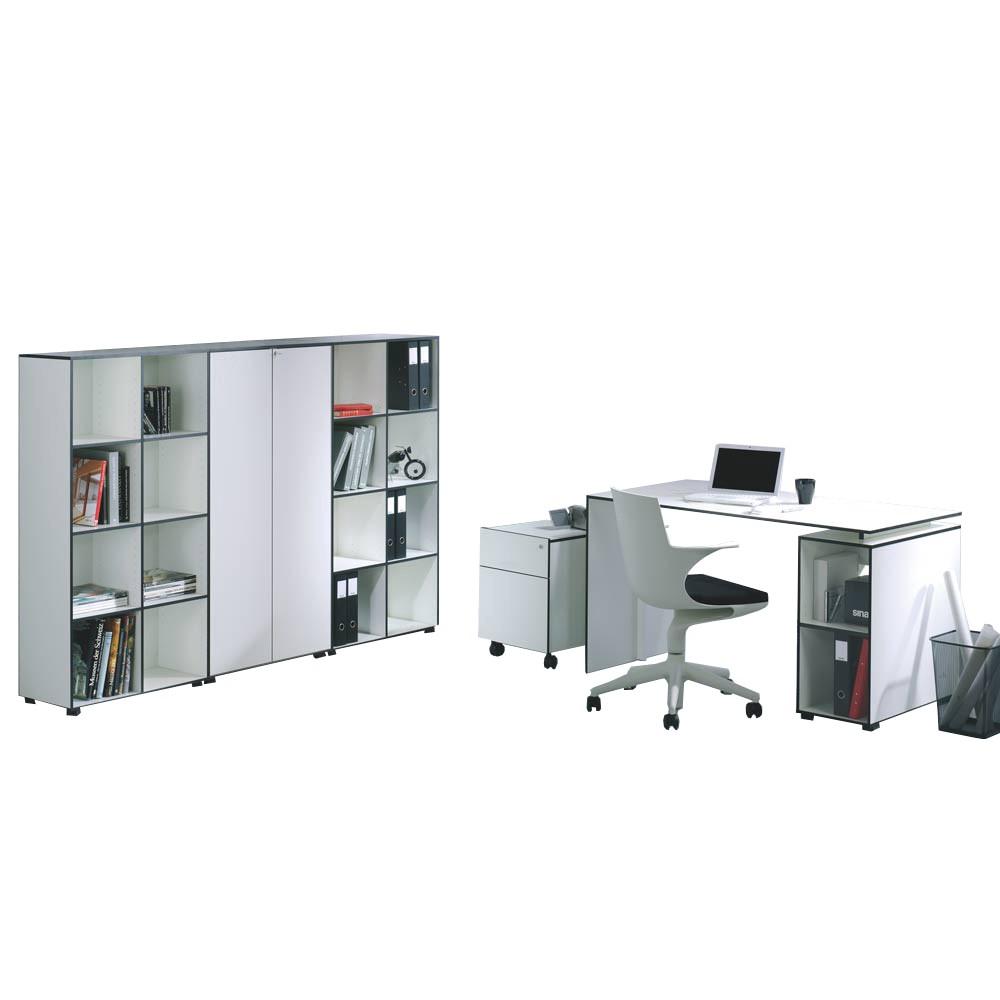 Büro-Set Bianconero (6-teilig) - Weiß mit Schwarzen Kanten - mit Tisch 140x70cm, Reinhard