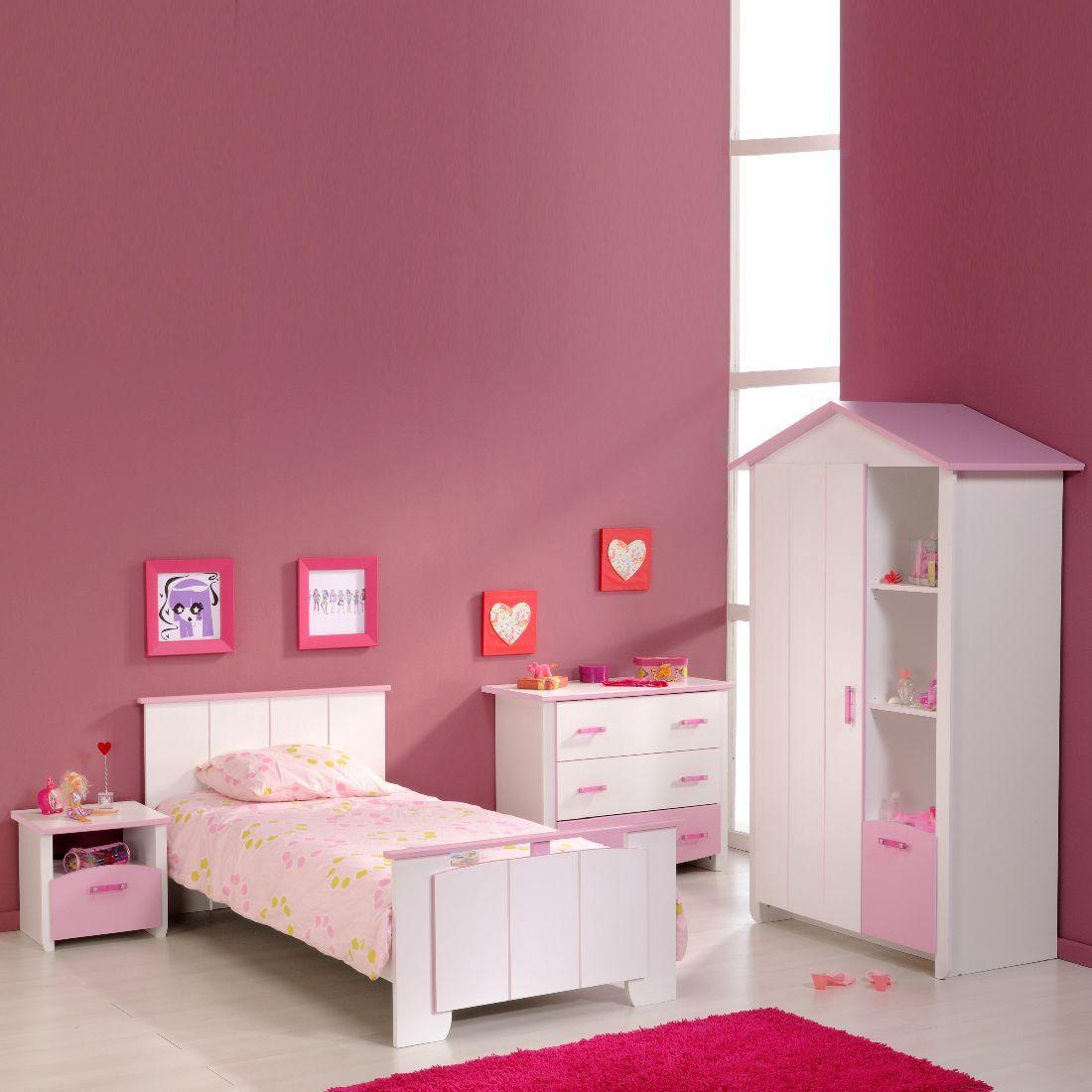 Sparset Biotiful (4-teilig) – Bett, Kleiderschrank, Kommode & Nachttisch – Weiß/Rosa, Parisot Meubles günstig kaufen