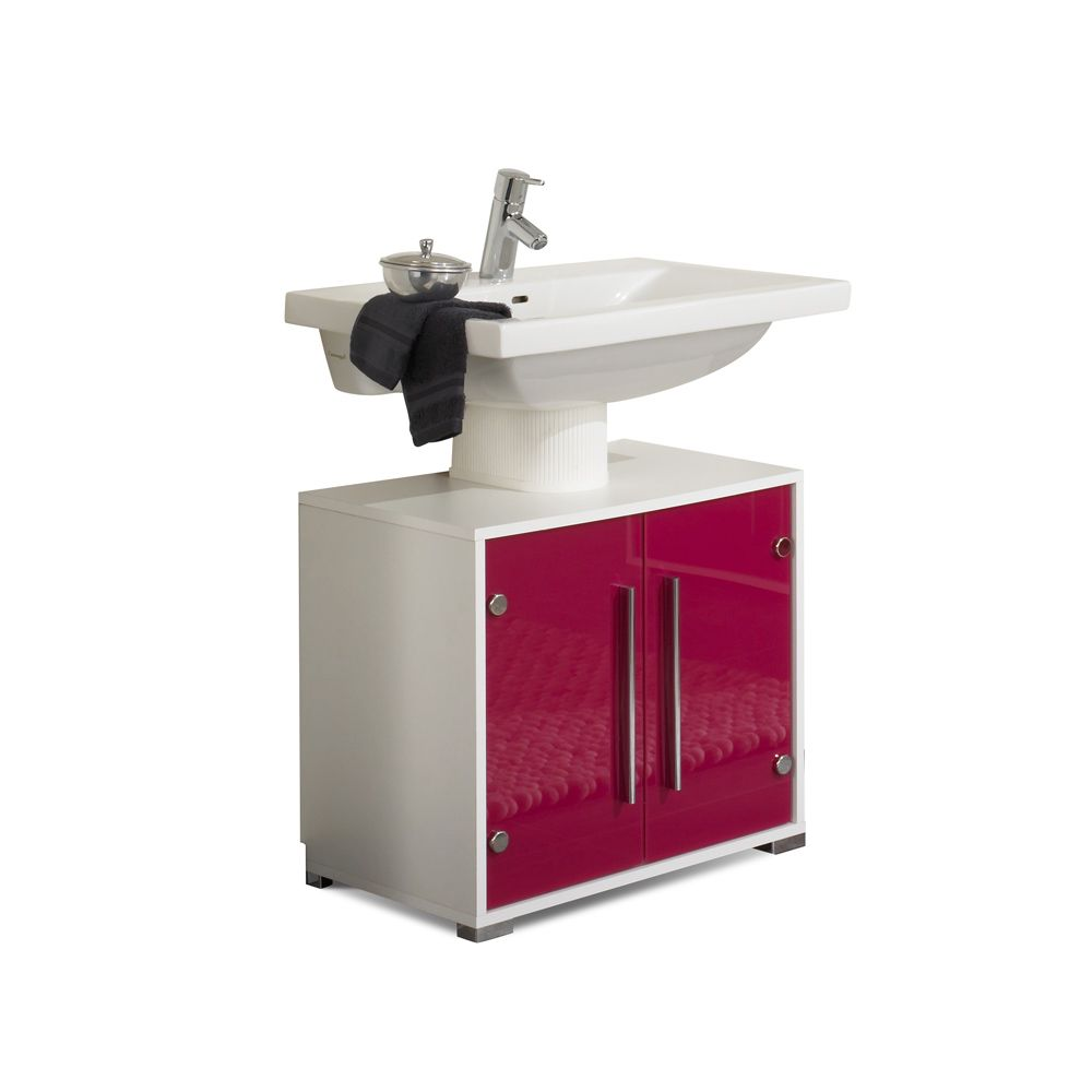 Waschbeckenunterschrank Brantford - weiß/pink