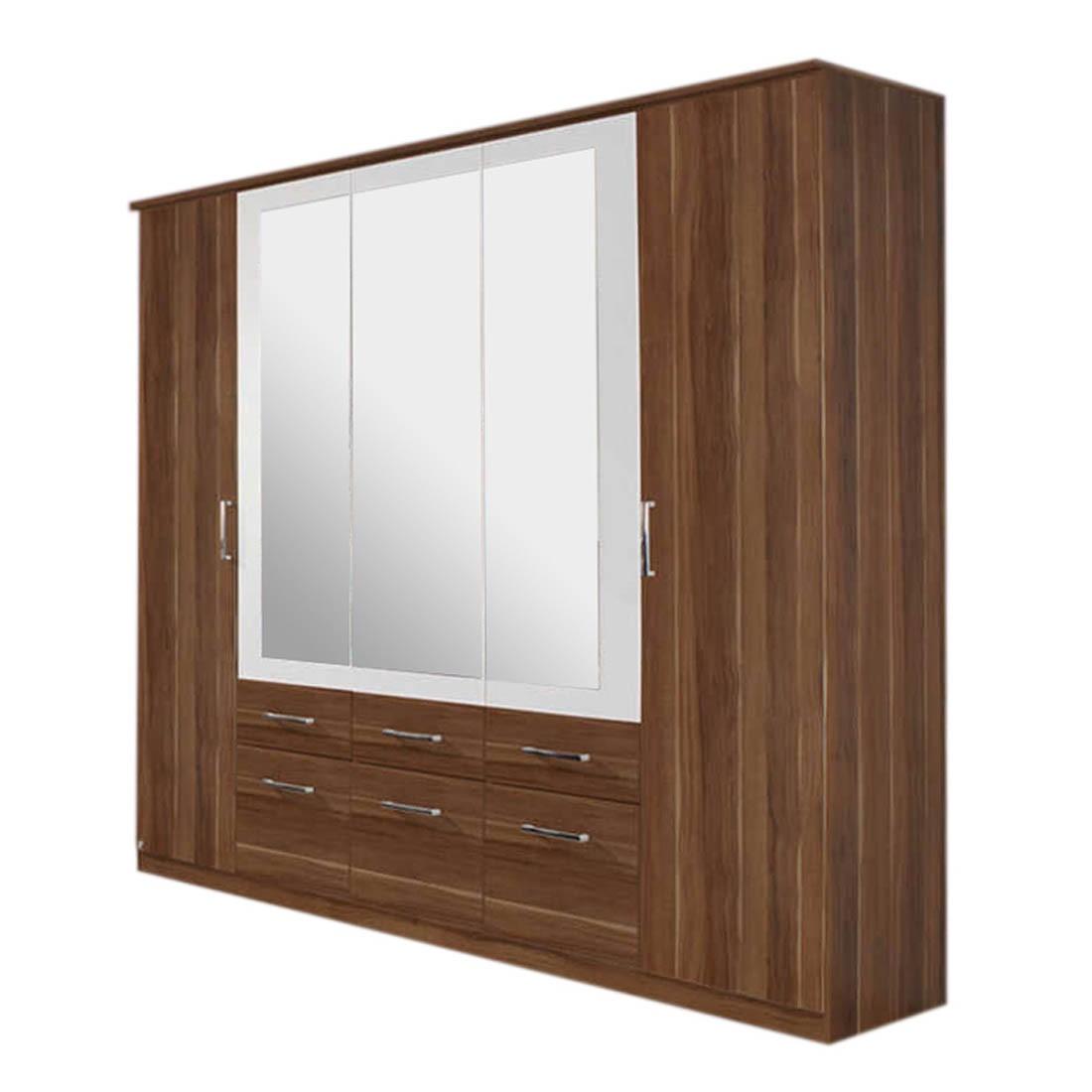 Drehtüren-/Kombischrank Burano – Kernnuss Dekor – Spiegel in Alpinweiß eingefasst – Schrankbreite: 226 cm – 5-türig, Rauch Pack´s jetzt kaufen