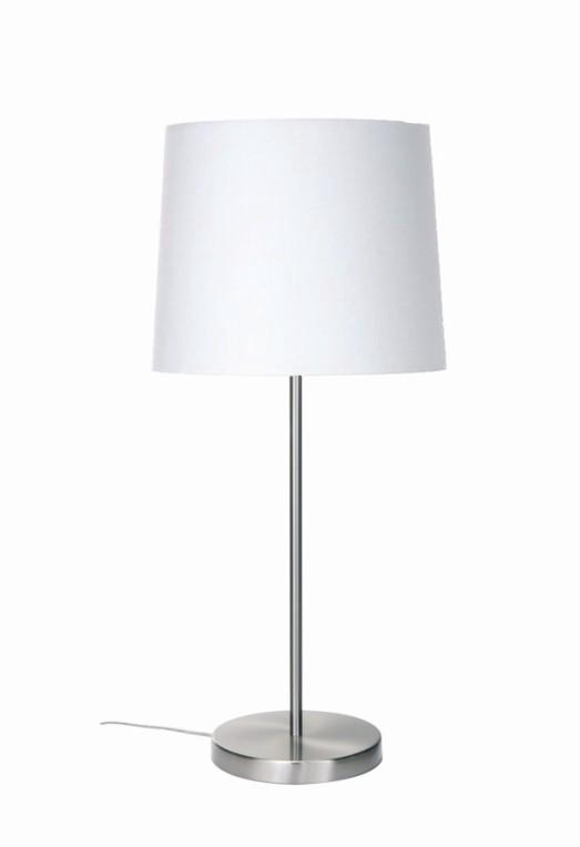 EEK A++, Tischleuchte Barinas – Mattnickel/ Schirm lichtweiß – 30cm, Busch Leuchten kaufen