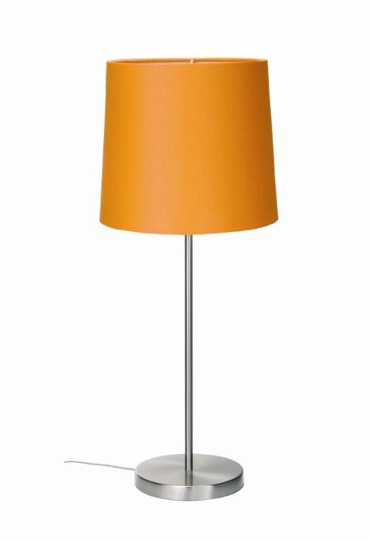 EEK A++, Tischleuchte Barinas – Mattnickel/ Schirm orange – 30cm, Busch Leuchten online bestellen