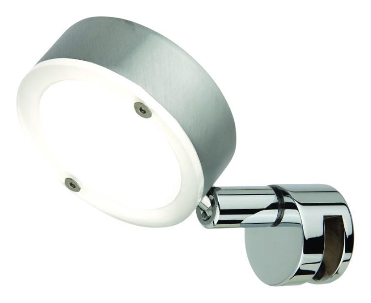 EEK A+, Spiegelleuchte Saturn – Aluminium matt gebürstet/chrom LED warmweiß, Busch Leuchten online kaufen