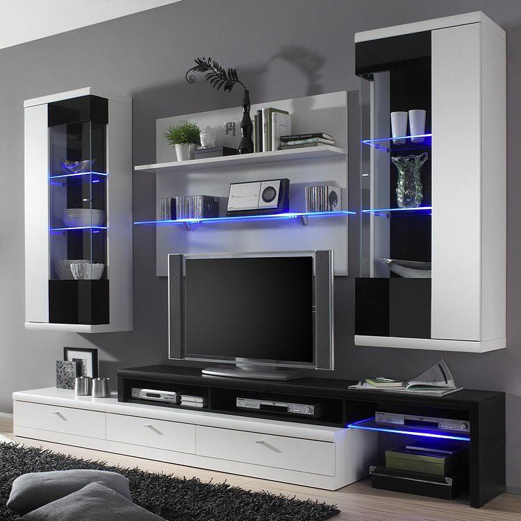 wohnwand ipswich 4 teilig inklusive beleuchtung wei hochglanz schwarz wohnwand ipswich. Black Bedroom Furniture Sets. Home Design Ideas