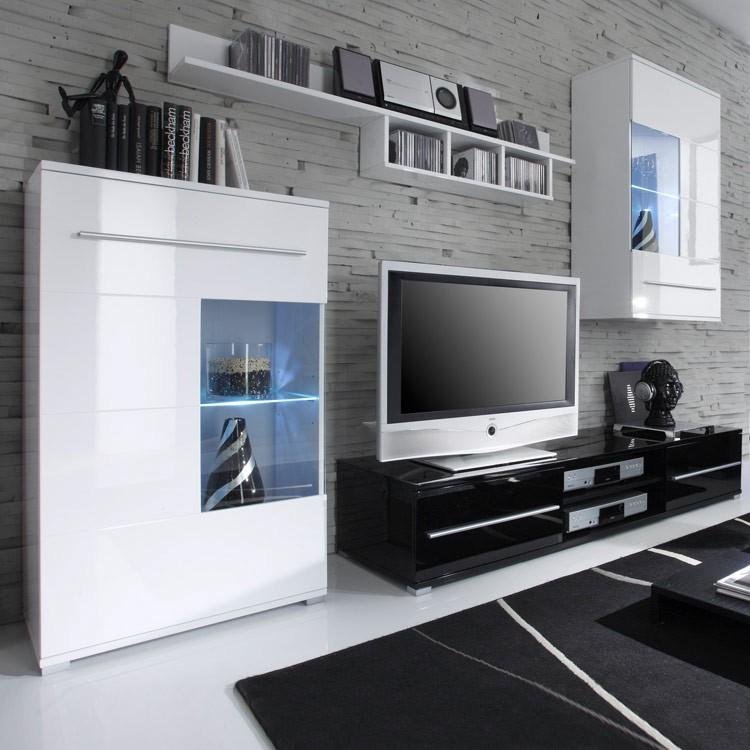 Wohnwand Mert (4-teilig) - Variante A - Weiß/Schwarz Hochglanz (Wandprogramm Mert (4-teilig) - Variante A - Weiss/Schwarz)