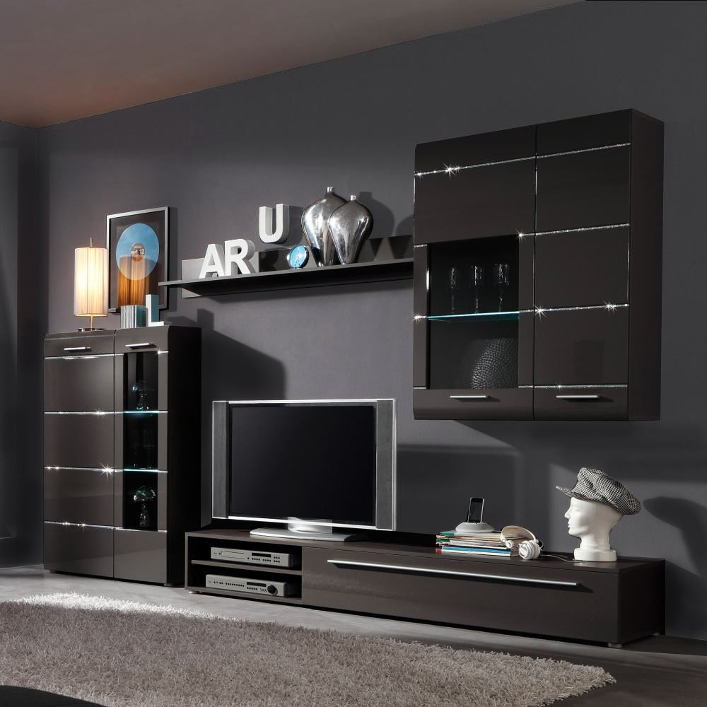 star wohnwand 4 teilig anthrazit hochglanz inklusive beleuchtung. Black Bedroom Furniture Sets. Home Design Ideas