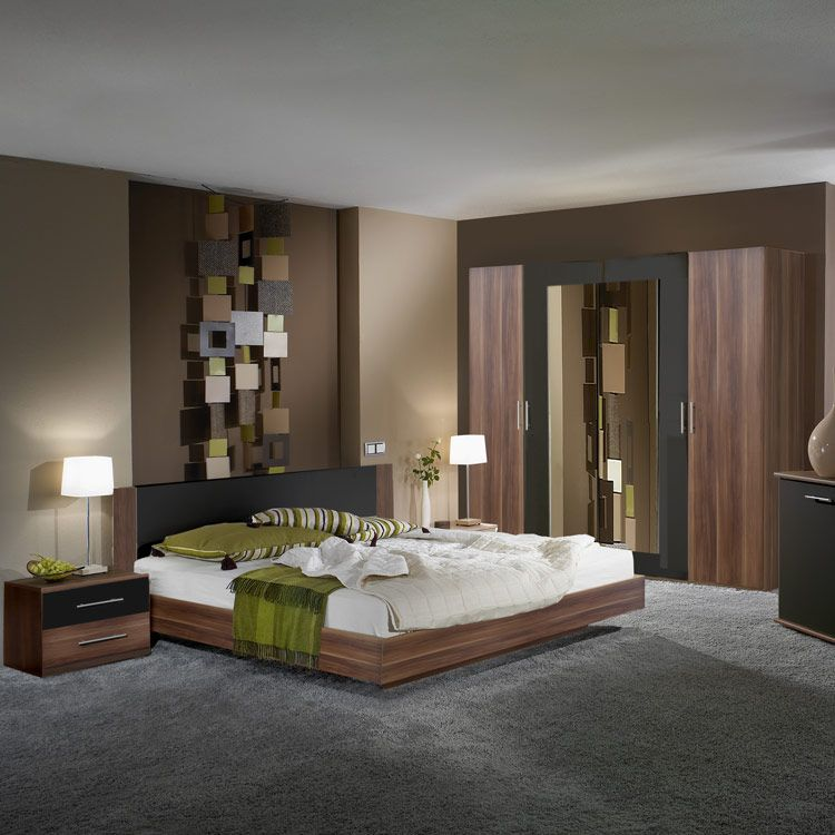 Komplettset Nora (4-teilig) – Nussbaum/Schwarz – Set mit Bett: 180×200 cm, Wimex bestellen