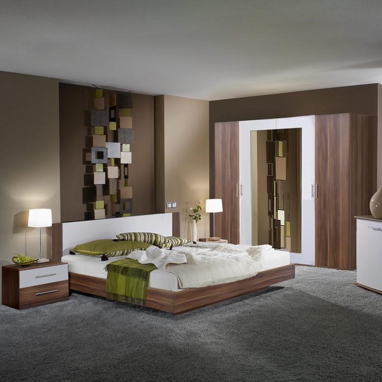 Komplettset Nora (4-teilig) – Nussbaum Dekor/Weiß – Set mit Bett: 180 x 200 cm, Wimex jetzt kaufen
