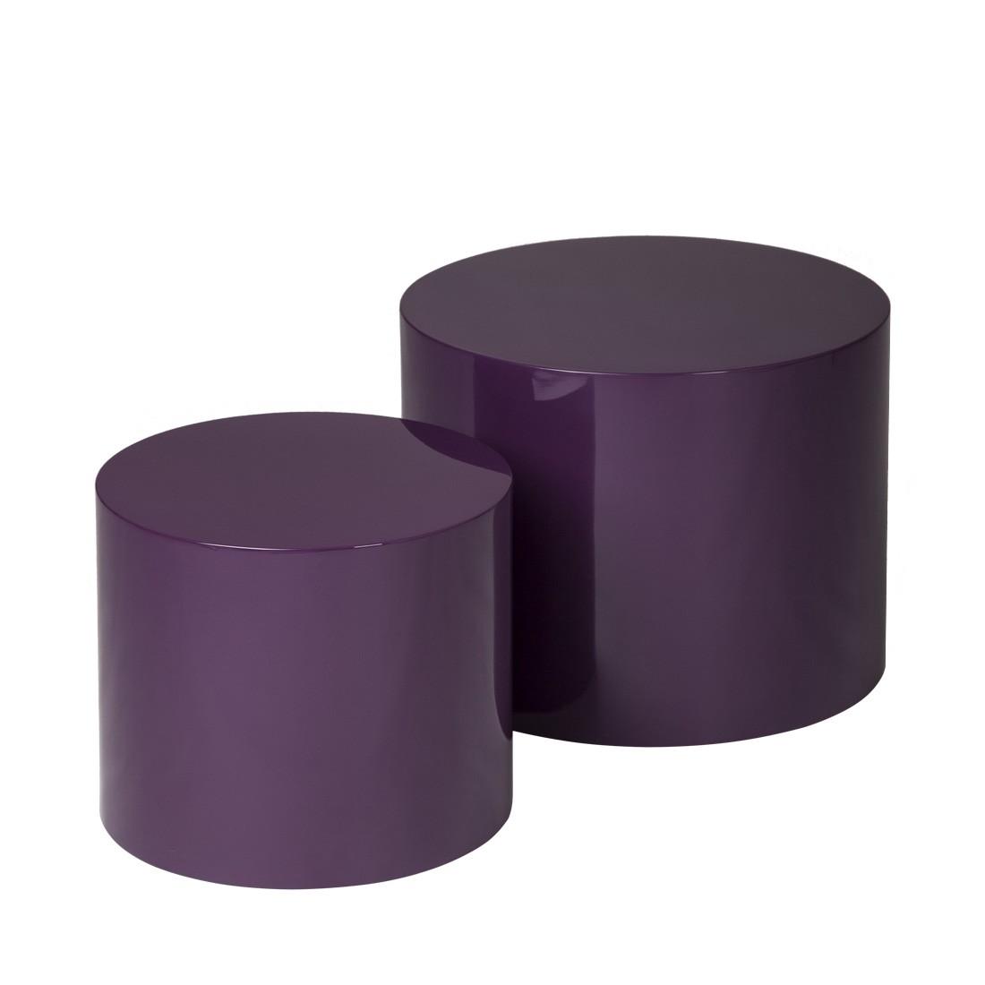 Beistelltisch-Set Circle – Purple Hochglanz, Studio Monroe jetzt bestellen
