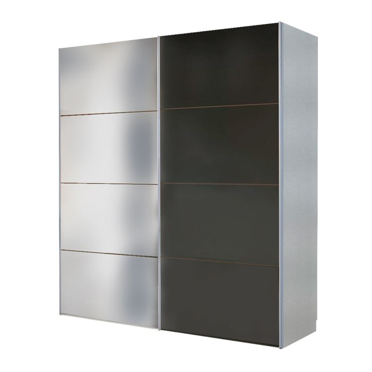 schwebet renschrank portiers silber spiegel schwarzglas schrankbreite 200 cm 2 t rig. Black Bedroom Furniture Sets. Home Design Ideas