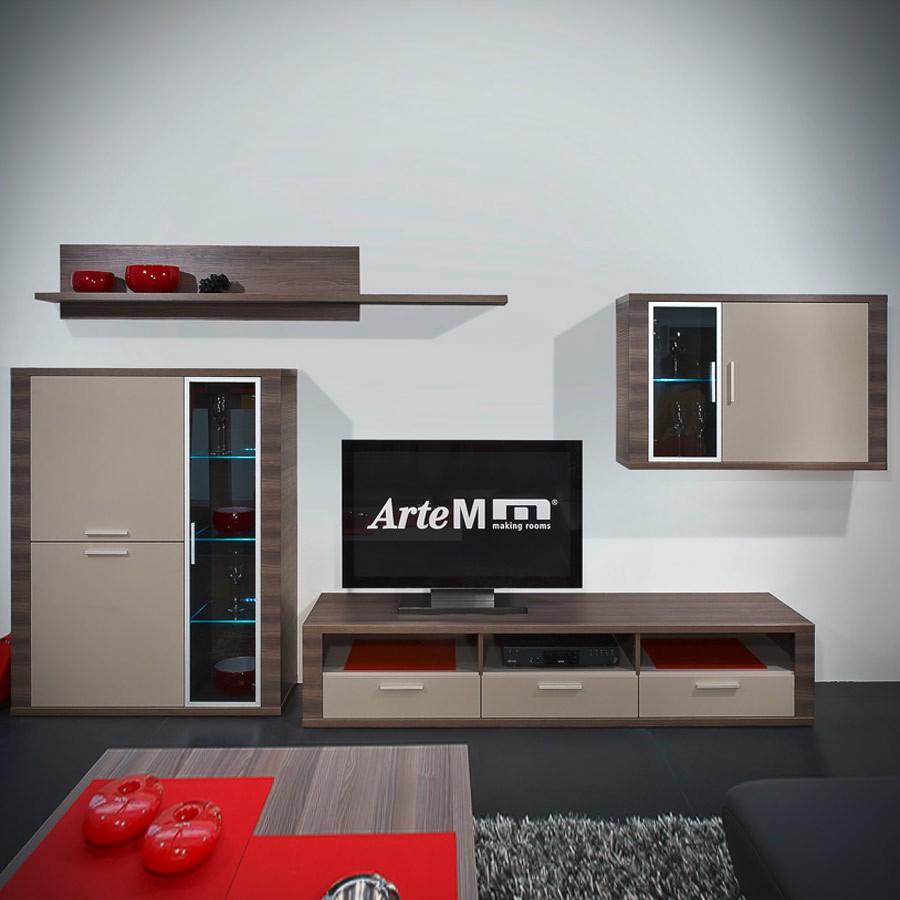 Wohnkombination Cool (4 Teilig)   Esche Dunkel/Weiß, Arte M