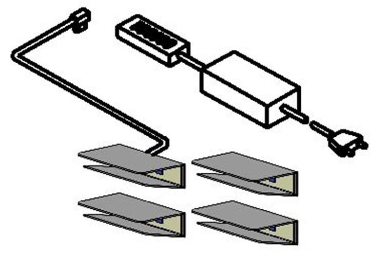 LED-Glaskantenbeleuchtung Swing (Blau) - 4er-Set (LED-Glaskantenbeleuchtung Swing (4er-Set) - mit Lichtfarbe blau)