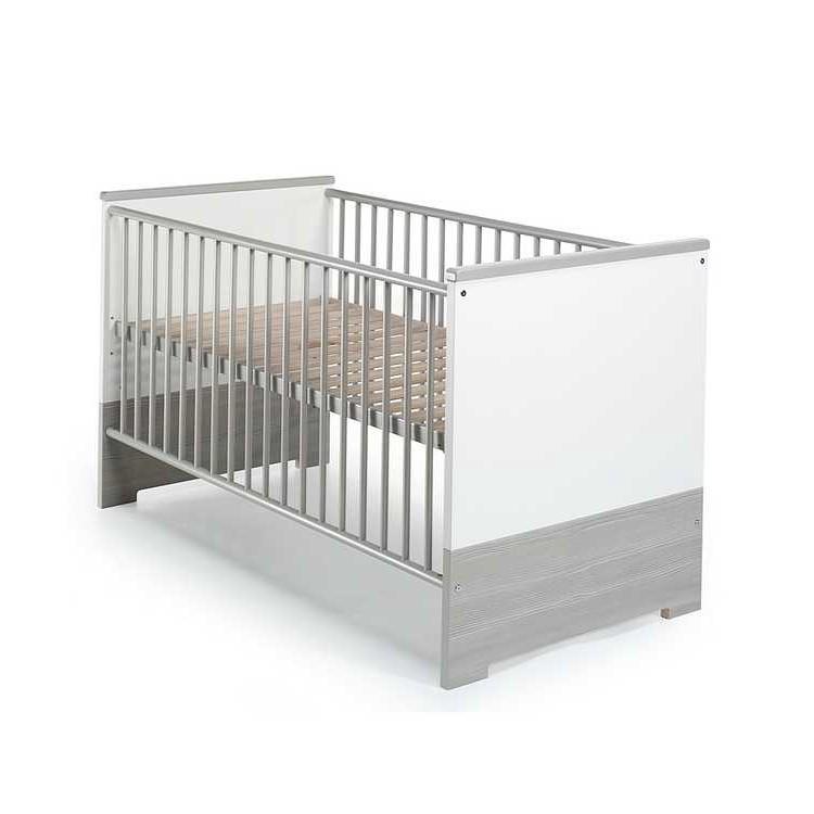 Babybett Eco – Pinie-Silber/Weißes Dekor – Kombi-Kinderbett mit Umbauseiten, Schardt kaufen
