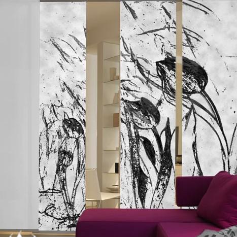 Flächenvorhang Tulpen im Wind (3er-Set) – Schwarz/Weiß, emotion textiles günstig online kaufen
