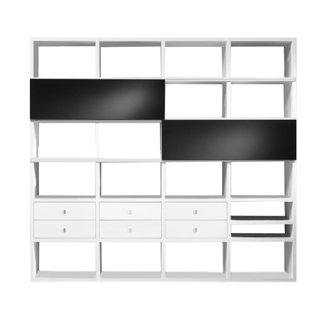 Regalwand Empire - Weiß Hochglanz/schwarz - 2 Schiebetüren/6 Schubkästen