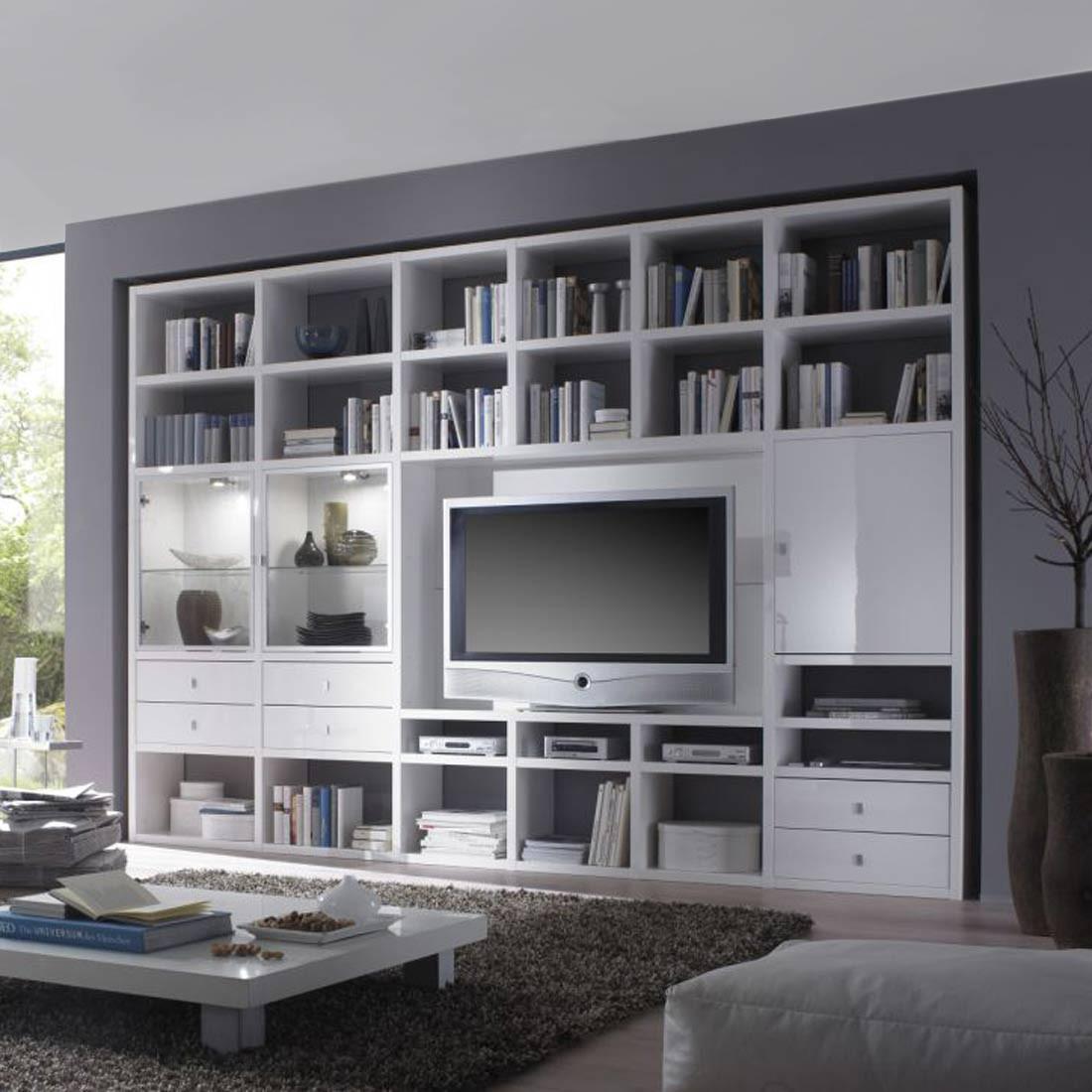 EEK B, TV-Wand Empire - Hochglanz Weiß - Mit Beleuchtung, loftscape