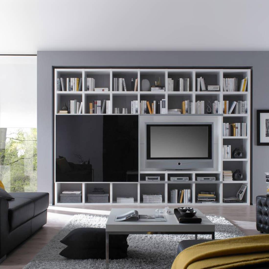 TV-Wand Empire - Hochglanz Weiß / Schwarz, loftscape