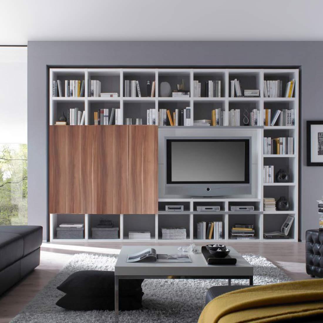 TV-Wand Empire - Hochglanz Weiß / Walnuss Dekor, loftscape