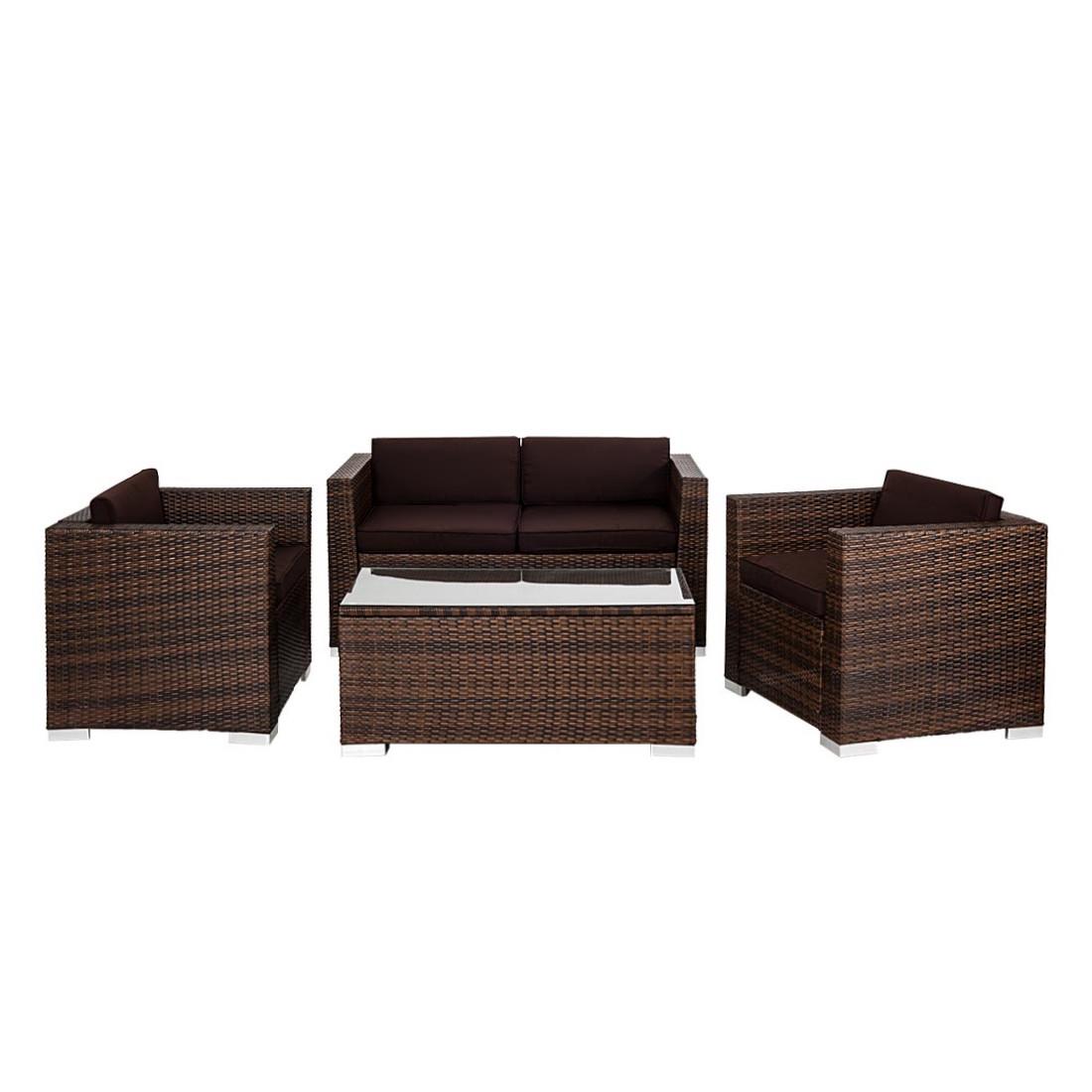 Loungegruppe Bari - Polyrattan Braun, Merxx