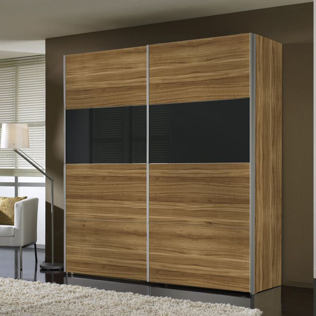 schwebet renschrank laval walnuss schwarzglas schrankbreite 250 cm 2 t rig. Black Bedroom Furniture Sets. Home Design Ideas