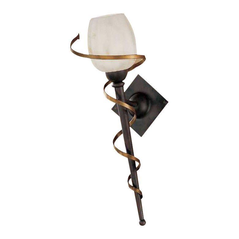 wandleuchte fackel metall glas schwarz gold wei 1 flammig hans k gl a bestellen. Black Bedroom Furniture Sets. Home Design Ideas