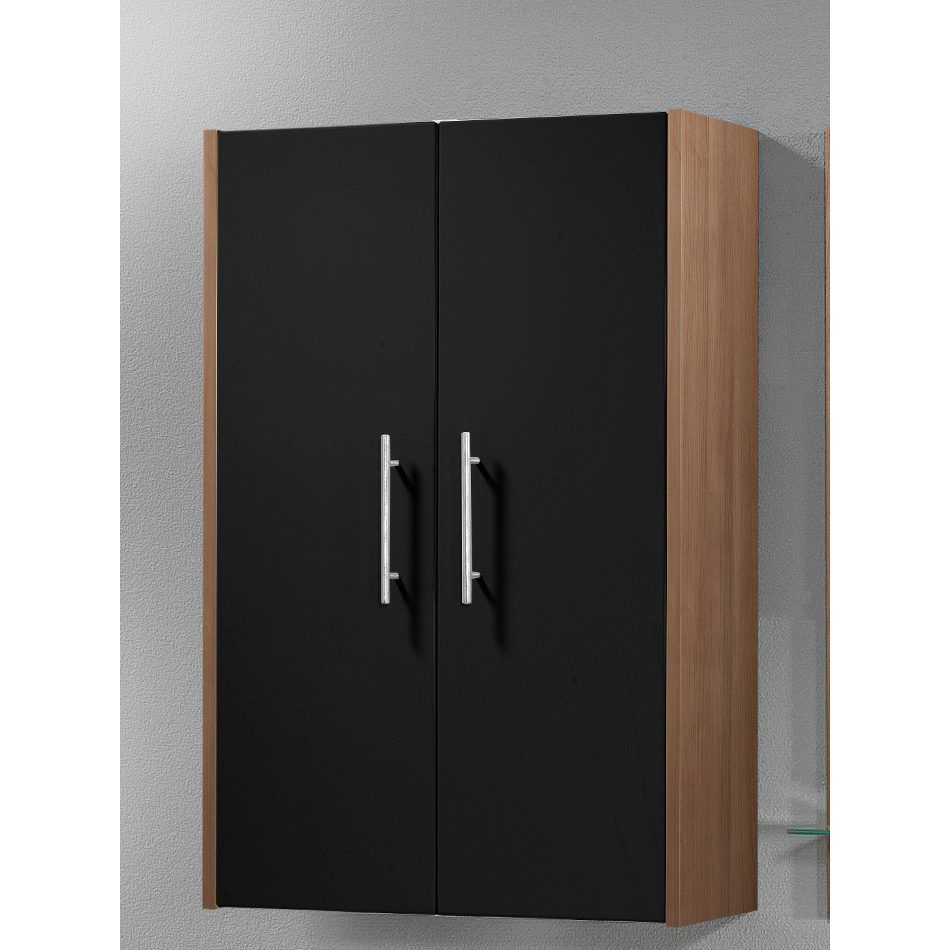 h ngeschrank leon mit 2 t ren zwetschge dekor schwarz hochglanz. Black Bedroom Furniture Sets. Home Design Ideas