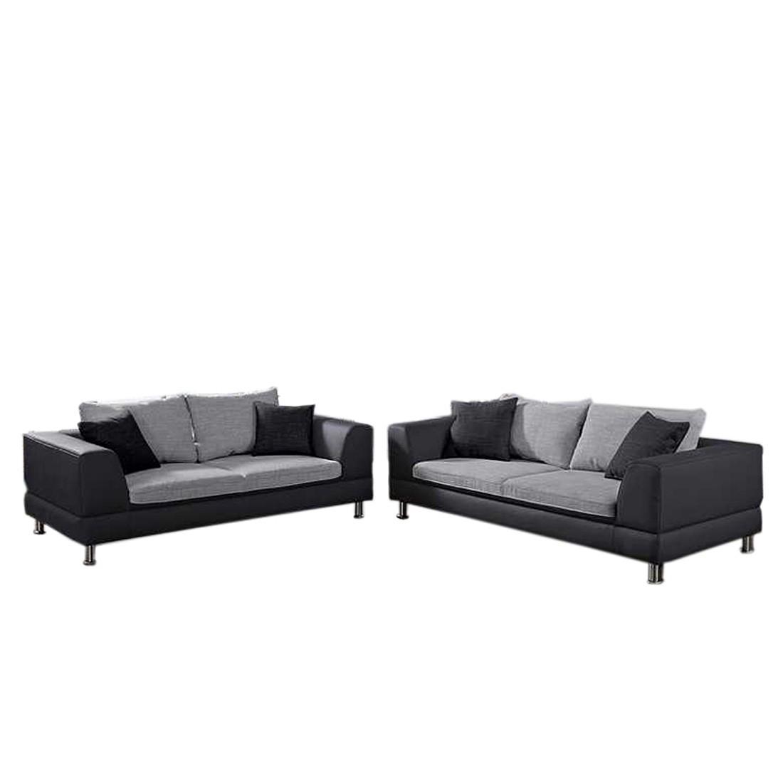 flint polstergarnitur 2 teilig kunstleder textil schwarz wei schwarz home design g nstig. Black Bedroom Furniture Sets. Home Design Ideas