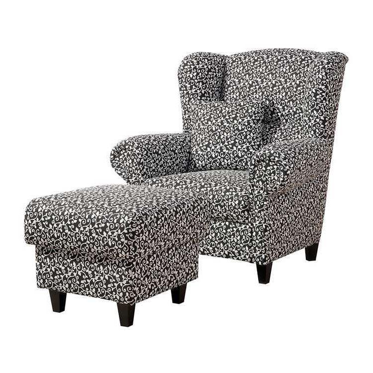 ohrensessel g teborg mit hocker hocker g teborg webstoff schwarz wei floral max winzer. Black Bedroom Furniture Sets. Home Design Ideas