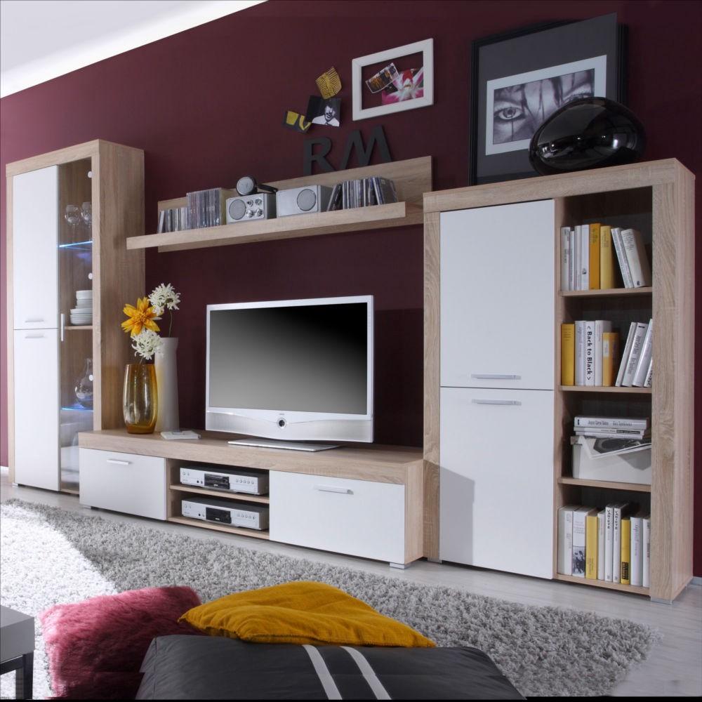 wohnwand felina 4 teilig eiche sonoma dekor wei. Black Bedroom Furniture Sets. Home Design Ideas