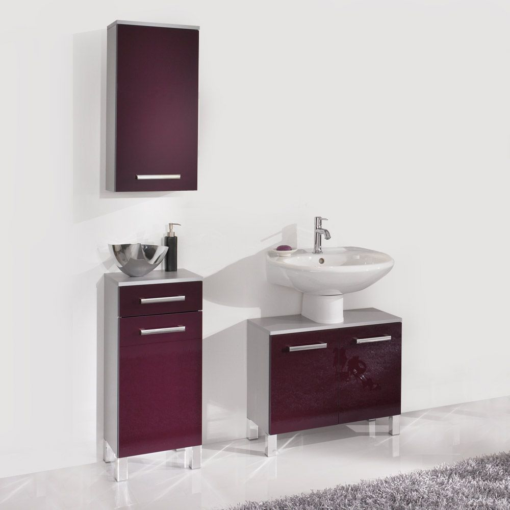 badezimmerset hamilton 3 teilig silber aubergine hochglanz. Black Bedroom Furniture Sets. Home Design Ideas