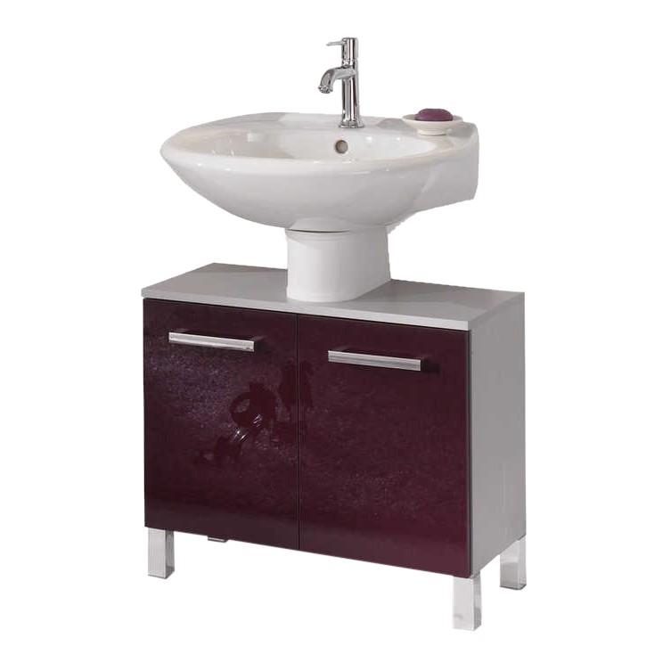 Waschbeckenunterschrank Hamilton - silber/aubergine Hochglanz