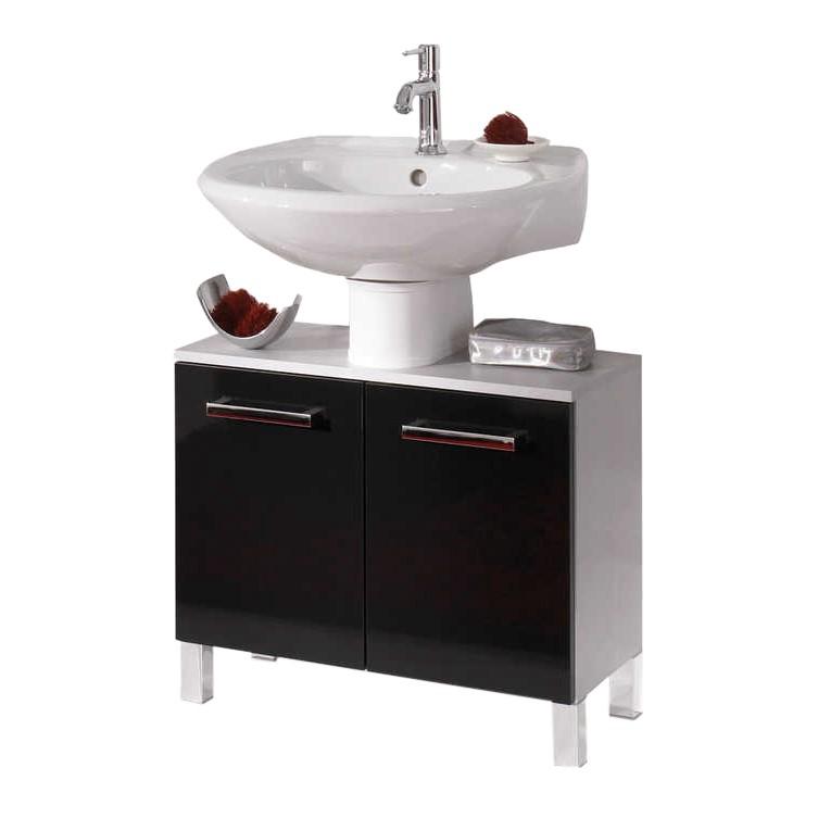 Waschbeckenunterschrank Hamilton - silber/schwarz Hochglanz