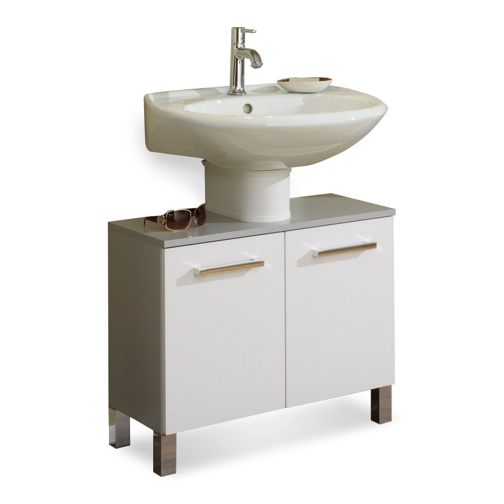 Waschbeckenunterschrank Hamilton - silber/weiß Hochglanz