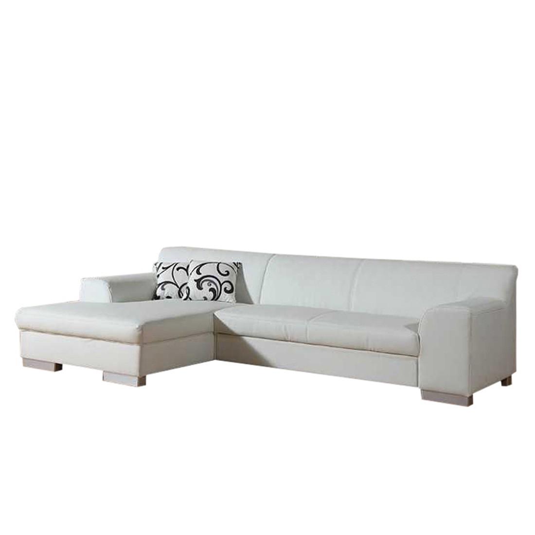 Ecksofa Hampton (mit/ohne Schlaffunktion) – Kunstleder Weiß – Longchair davorstehend links – mit Schlaffunktion, Home Design günstig kaufen